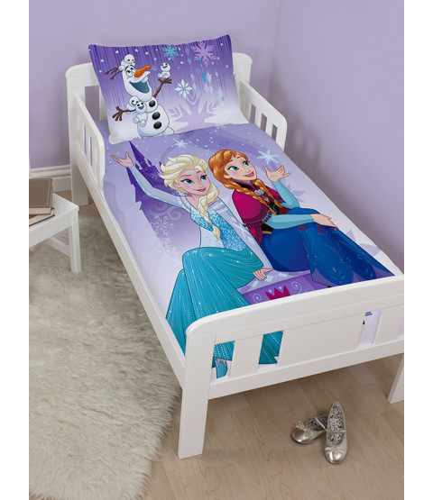 Disney Frozen Snowflake 4 in 1 Toddler Bedding Bundle Set (Duvet, Pillow and Covers)