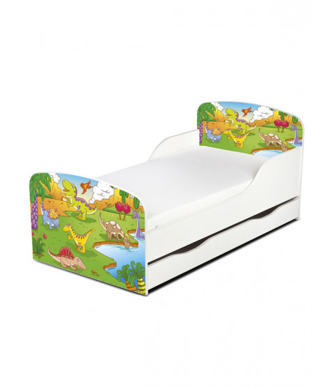 PriceRightHome Dinosaur Toddler Bed with Underbed Storage plus Fully Sprung Mattress