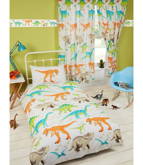 Dinosaur World 4 in 1 Toddler Bedding Bundle Set (Duvet, Pillow and Covers)