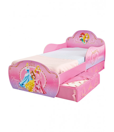 Princess Toddler Bed with Storage and Sprung Mattress