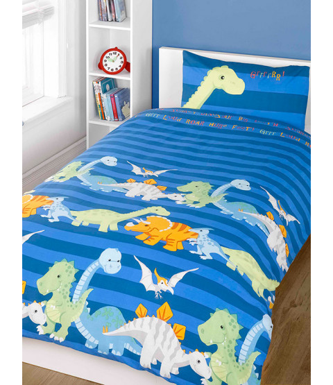 Dinosaurs Double Duvet Cover and Pillowcase Set - Blue