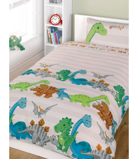 Dinosaurs Natural 4 en 1 Junior Bedding Bundle (edredón y almohada y fundas)