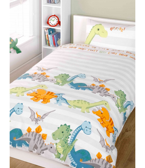 Dinosaurs Double Duvet Cover and Pillowcase Set - Natural