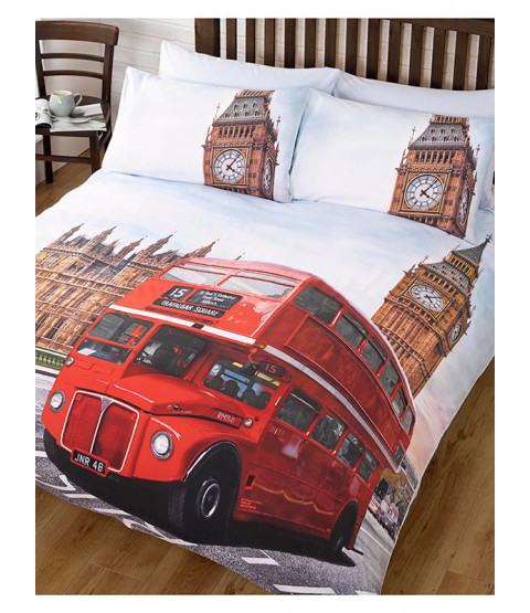 London Bus and Big Ben King Size Duvet Cover and Pillowcases Set
