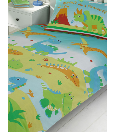 Roar Like a Dinosaur Junior Duvet Cover and Pillowcase Set