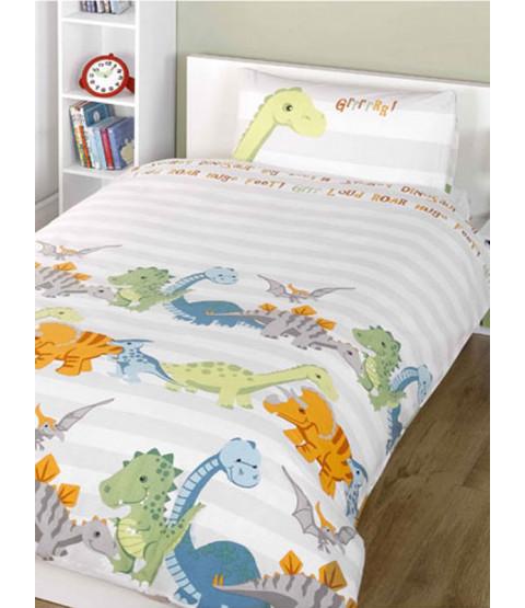 Dinosaurs Natural 4 in 1 Junior Bedding Bundle - Edredón, almohada, funda nórdica y funda de almohada