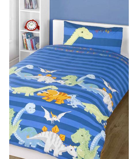 Dinosaurs Blue 4 in 1 Junior Literie Bundle - Couette, oreiller, housse de couette et taie d'oreiller