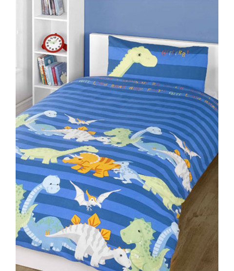 Dinosaurs Blue 4 in 1 Junior Bedding Bundle - Duvet, Pillow, Duvet Cover and Pillowcase