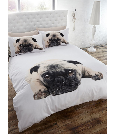 Pug Double Duvet Cover and Pillowcase Set
