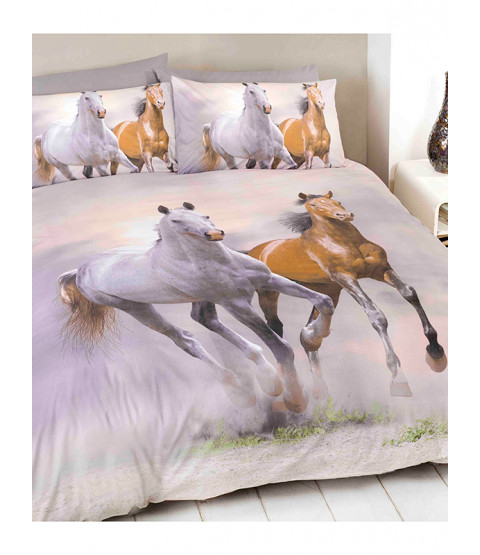 Galloping Horses Single Duvet Cover and Pillowcase Set
