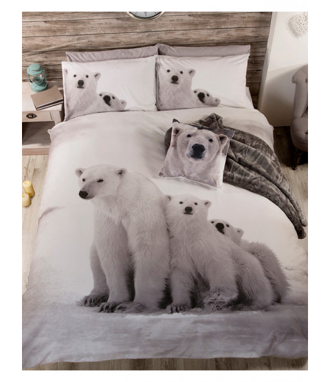 Polar Bear Family King Size Duvet Cover Bedding Set