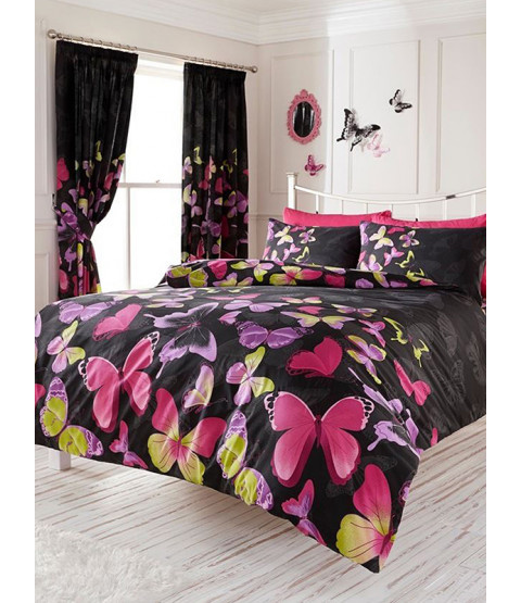 Fashion Butterfly Double Duvet Cover and Pillowcase Set - Black