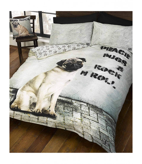 Peace Pugs & Rock n Roll Double Duvet Cover and Pillowcase Set