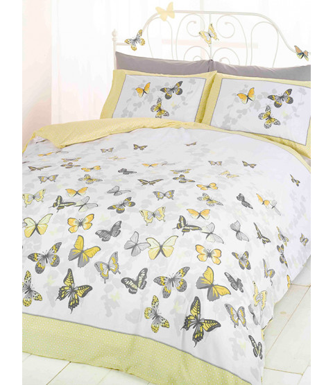 Butterfly Flutter Double Duvet Cover and Pillowcase Set - Lemon