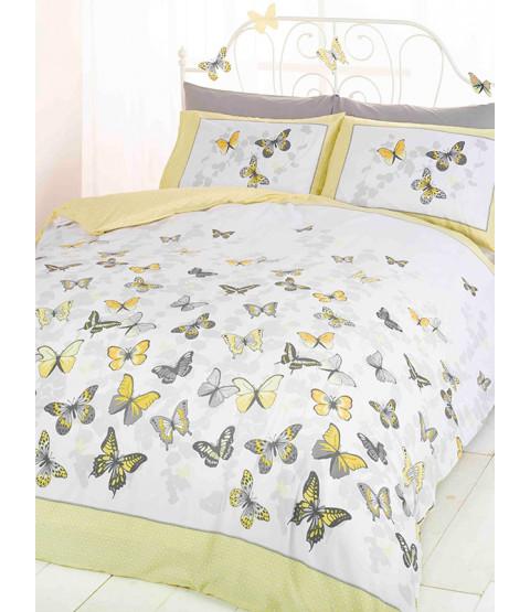 Butterfly Flutter King Size Duvet Cover and Pillowcase Set - Lemon