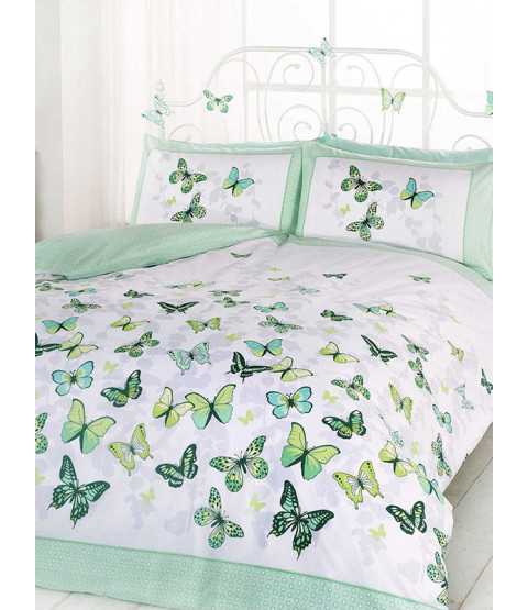 Butterfly Flutter Double Duvet Cover and Pillowcase Set - Green