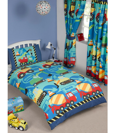 Construction Time 4 in 1 Junior Bedding Bundle (Duvet and Pillow and Covers)