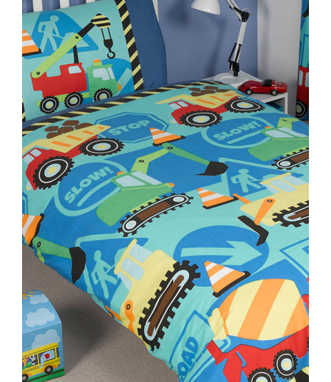 Construction Time 4 in 1 Junior Bedding Bundle (Duvet and Pillow and Covers
