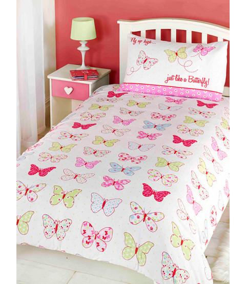 Juego de funda nórdica y funda de almohada para niños pequeños Fly Up High Butterfly