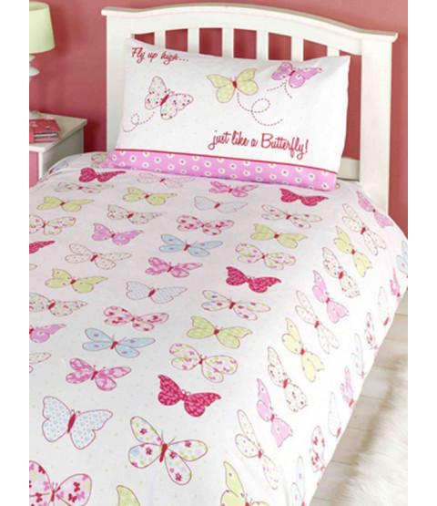 Fly Up High Butterfly 4 in 1 Junior Bedding Bundle - Duvet, Pillow, Duvet Cover and Pillowcase