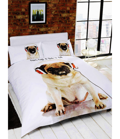 Rock n Roll Pug Double Duvet Cover Bedding Set