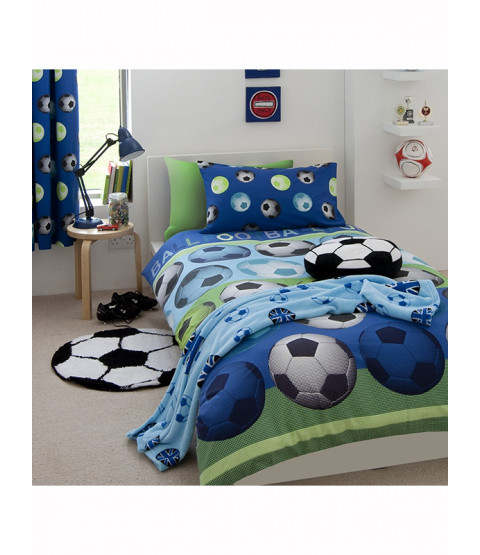 Catherine Lansfield Football Blue Double Duvet Cover Set