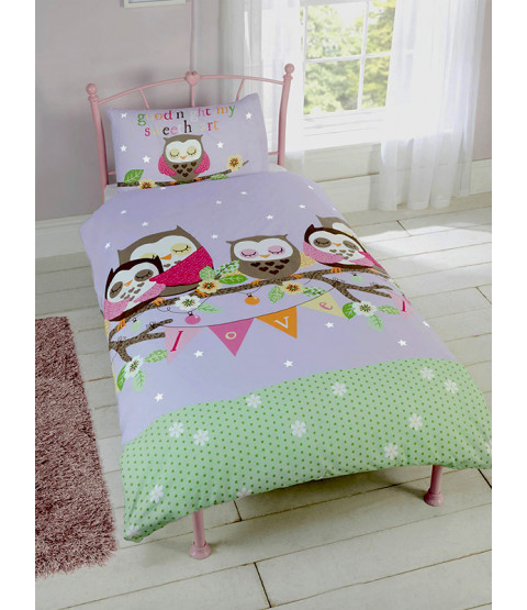 Goodnight Sweetheart Owls 4 in 1 Junior Bedding Bundle Set (Duvet, Pillow and Covers)