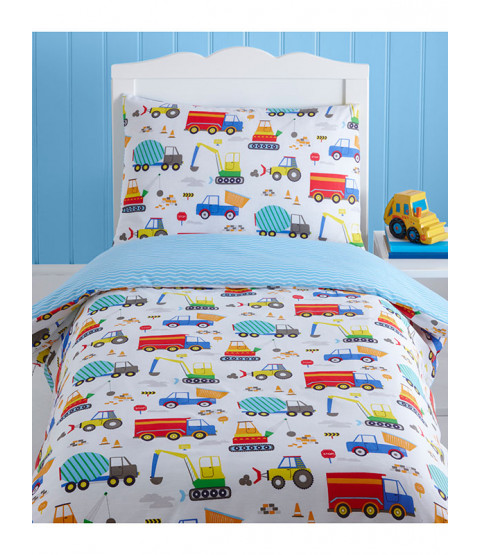 Bright Trucks 4 in 1 Toddler Bedding Bundle (Duvet, Pillow and Covers)