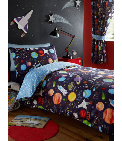 Planets Single Duvet Cover and Pillowcase Set