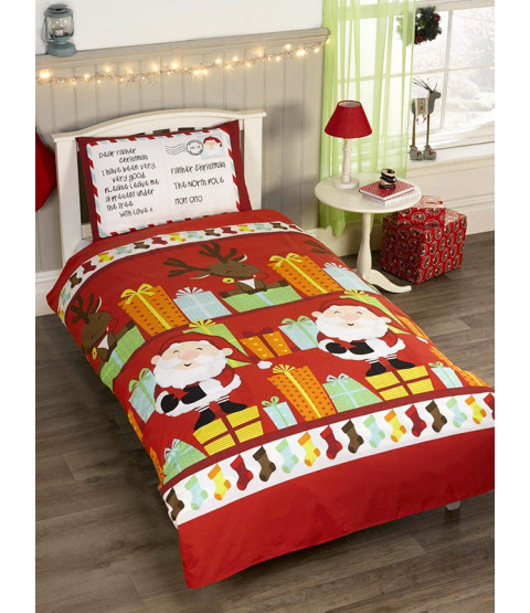 Santa's List Single Duvet Cover and Pillowcase Set