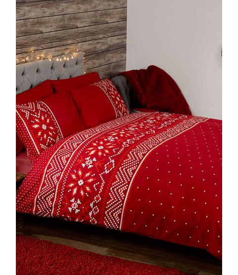 Nordic Christmas Double Duvet Cover and Pillowcase Set - Red