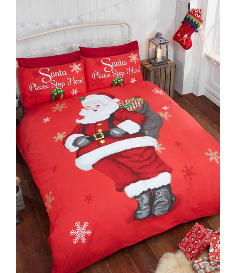 Santa Stop Here Double Christmas Duvet Cover and Pillowcase Set
