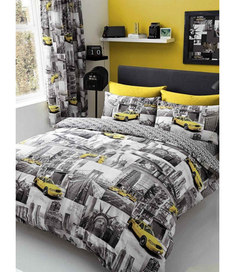 New York Patch Single Duvet Cover and Pillowcase Set