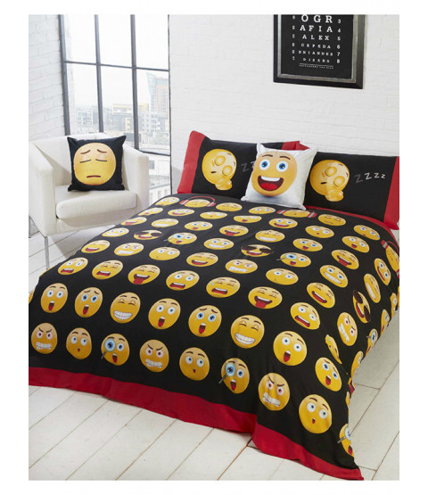 Emoji Icons Double Reversible Duvet Cover Set