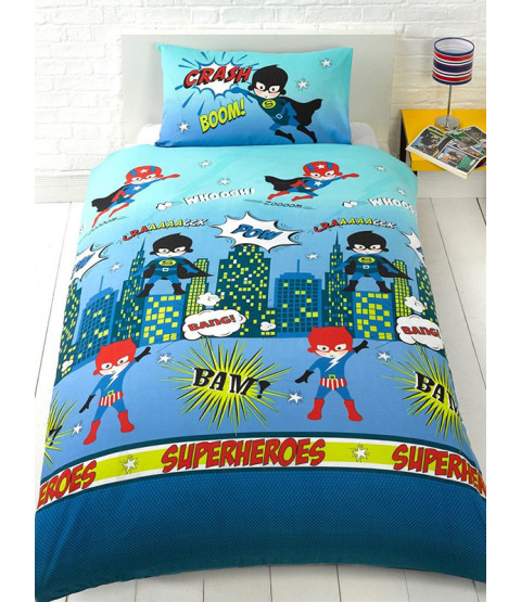 Superheroes Single Duvet Cover and Pillowcase Set