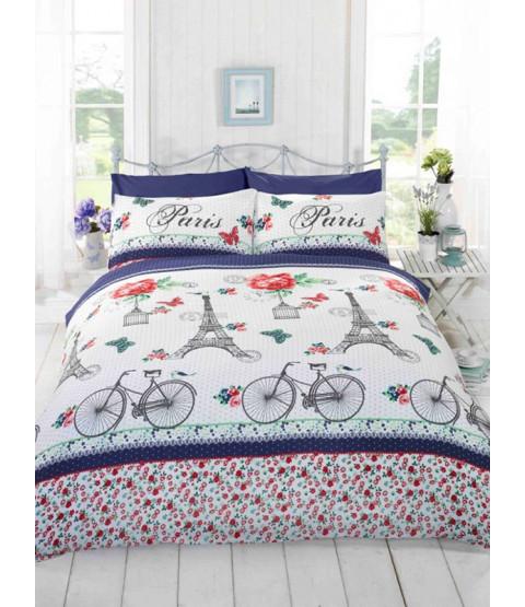 C'est La Vie Paris Red King Size Duvet Cover and Pillowcase Set
