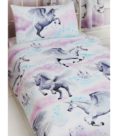 Juego de funda nórdica y funda de almohada Stardust Unicorn Junior para niños pequeños - Púrpura y verde azulado