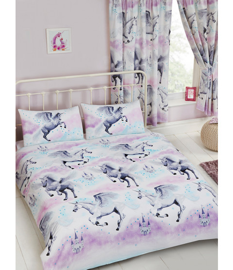Stardust Unicorn Double Duvet Cover And Pillowcase Set Teal And Purple Bedding Bedroom
