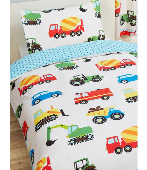 Camiones y transporte 4 en 1 conjunto de ropa de cama junior