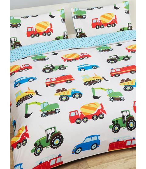 Trucks and Transport Double Housse de couette et taie d'oreiller