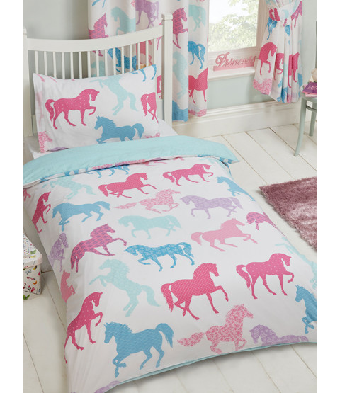 Patchwork Ponies Single Duvet Cover and Pillowcase Set