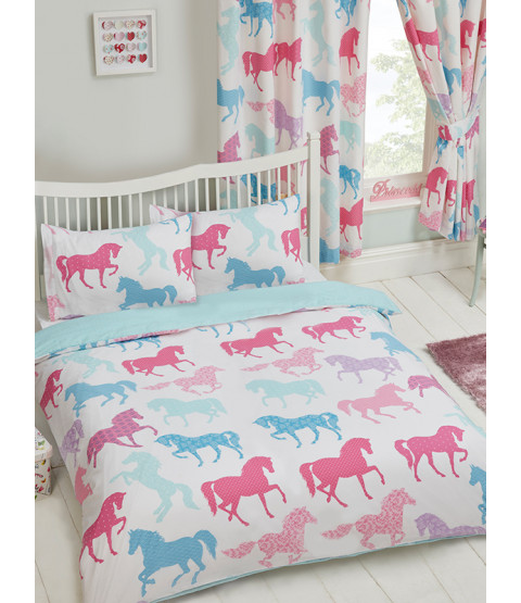 Patchwork Ponies Double Duvet Cover and Pillowcase Set