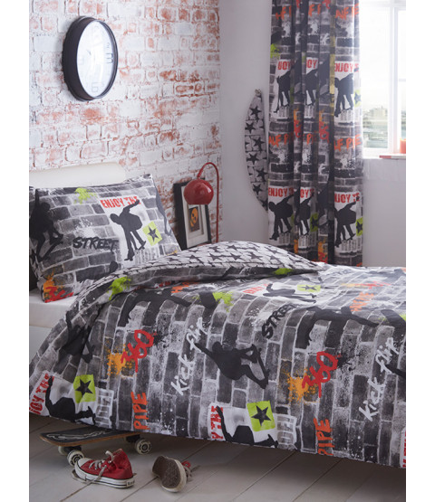 Skateboard Tricks Single Duvet Cover and Pillowcase Set