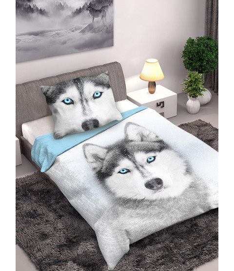 Husky Dog Single Cotton Duvet Cover and Pillowcase Set