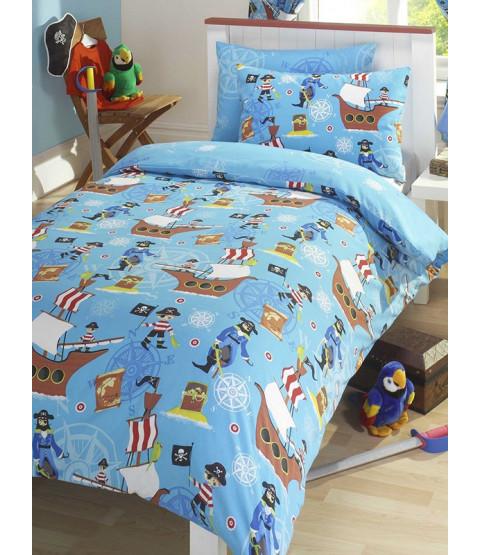 Sea Pirates Single Duvet Cover and Pillowcase Bedding Set