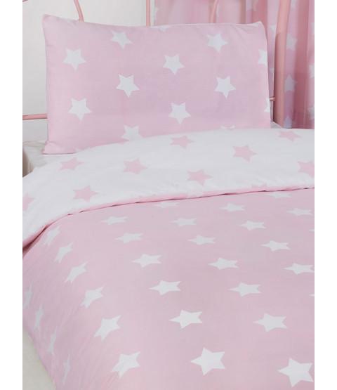 Rosa y Stars blancas 4 en 1 conjunto de ropa de cama junior