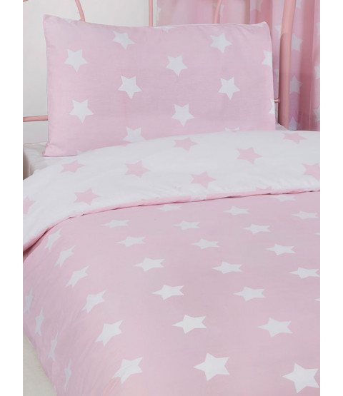 Pink and White Stars Single Duvet Cover and Pillowcase Set