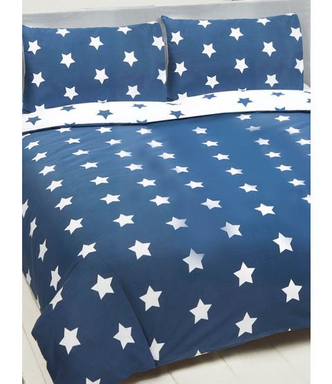 Juego de funda de almohada y funda de almohada doble azul marino y Stars blancas