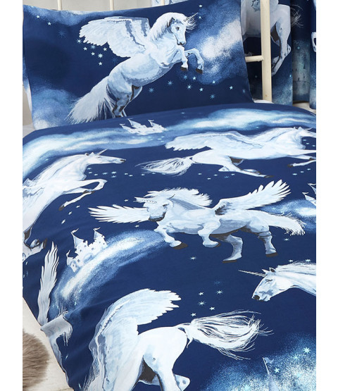 Stardust Unicorn Navy Blue Junior Toddler Duvet Cover and Pillowcase Set