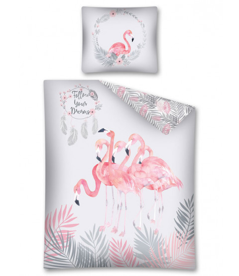 Follow Your Dreams Flamingo Single Duvet Cover Set